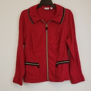 Chico's Jackets & Coats - Chico's red zip up blazer/jacket size 1/M